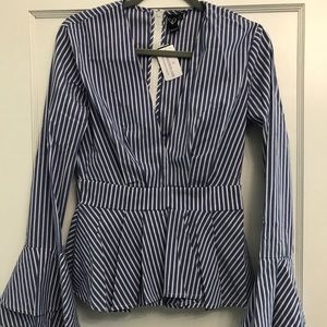 Tops - Boutique Stripe Flare Sleeve Top